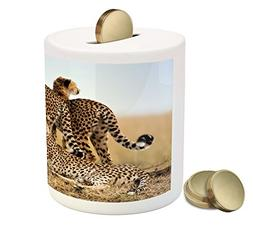 Ambesonne Africa Piggy Bank, Cheetahs Mother Two Young Baby