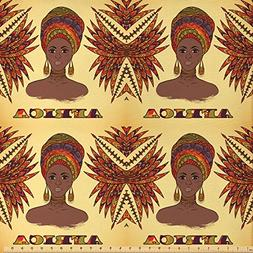 Ambesonne African Fabric by The Yard, Ethnic Woman in Tradit