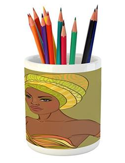 Ambesonne African Woman Pencil Pen Holder, Beautiful Native