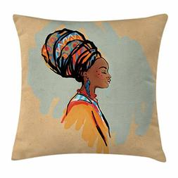 Ambesonne African Woman Throw Pillow Cushion Cover, Watercol