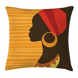 Ambesonne Afro Decor Throw Pillow Cushion Cover, Girl Profil