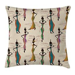 Ambesonne Afro Decor Throw Pillow Cushion Cover, Vintage Sty