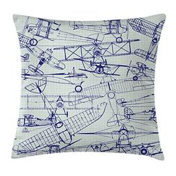 Ambesonne Airplane Throw Pillow Cushion Cover, Old Airplane