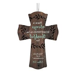 Always Thankful Wooden Cross with Ribbon Hanger, 6 Inch
