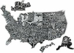 America The Beautiful Map Large 4Pc USA Hanging Sign Primiti