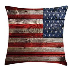Ambesonne American Flag Throw Pillow Cushion Cover, Independ