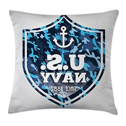 Ambesonne Anchor Throw Pillow Cushion Cover, Military Camouf