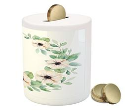 Ambesonne Anemone Flower Piggy Bank, Round Composition with