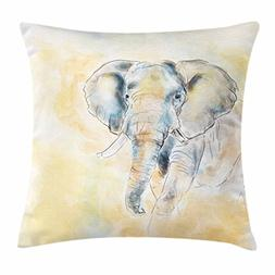 Ambesonne Animal Throw Pillow Cushion Cover, Elephant Waterc