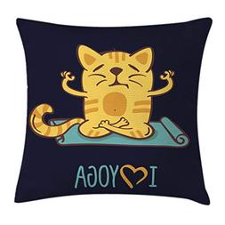 Ambesonne Animal Throw Pillow Cushion Cover, I Love Yoga The