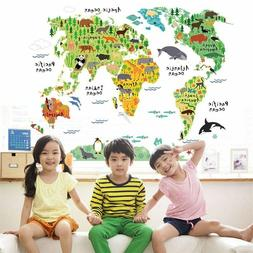 Animal World Map Wall Stickers Living Room Bedroom Office Ho