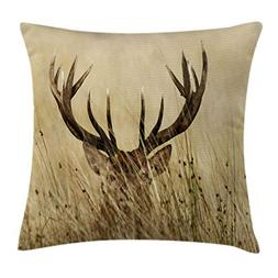 Ambesonne Antler Decor Throw Pillow Cushion Cover, Whitetail