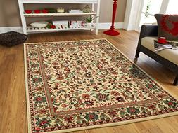 Large Area Rug Oriental Rug 8x11 Traditional Rugs Cream Pers