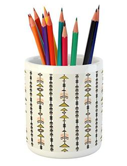 Ambesonne Arrow Pencil Pen Holder, Tribal Style Arrow and Ge