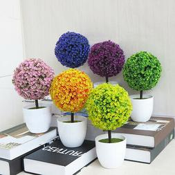 Artificial Fake Planter Potted Ball Plant Bonsai Office Home