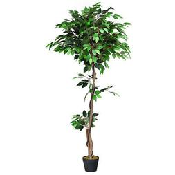 Artificial Ficus Silk Tree with Wood Trunks - 5.5 Feet Tall