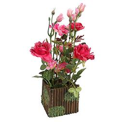 RERXN Artificial Flower with Wooden Fence Pot Silk Potted Ro