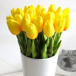 Supla Artificial Flowers 20 heads Real Touch Tulips in Yello