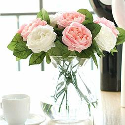 Artificial Flowers,Fake Flowers Silk 6 Heads Plastic Roses W