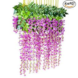 12 Pack 1 Piece 3.6 Feet Artificial Flowers Silk Wisteria Vi