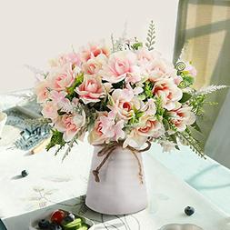 Artificial Flowers with Vase Fake Silk Gardenia Decoration f
