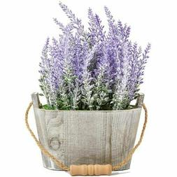 Artificial Lavender Fake Flower Plant in Rustic Oval Wooden