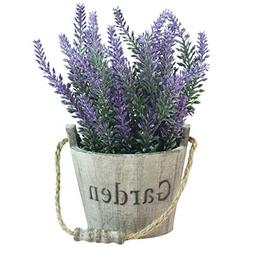 MyGift Artificial Lavender Plant, Faux Flower in Rustic Wood