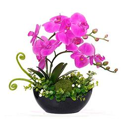 YILIYAJIA Artificial Orchid Bonsai Fake Flowers with Vase Ar