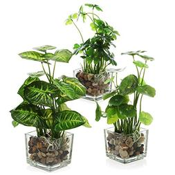 MyGift Set of 3 Artificial Plants, Faux Tabletop Greenery w/