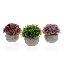 T4U Artificial Plastic Plants with Pots Mini Size for Home O