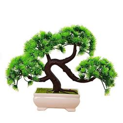 Artificial Potted Plastic Bonsai Pine Tree Fake Indoor Plant