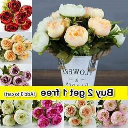 artificial silk peony flowers bouquets for wedding