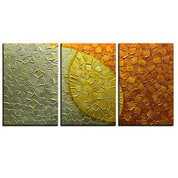 Asdam Art-3panels Hand Painted 3D Oil Painting On Canvas Gol