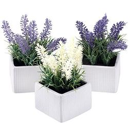 Set of 3 Assorted Color Artificial Lavender Flower Plants in