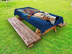 Ambesonne Astronaut Outdoor Tablecloth, Futuristic Thinking