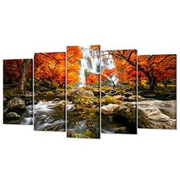 Kreative Arts - Autumn Forest Waterfalls 5 Piece Modern Wrap