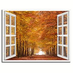 Autumn Trees Red Leaves Picture French Window Art Framed Pri