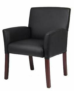 Boss Office Products B619 Box Arm Guest Chair with Mahogany