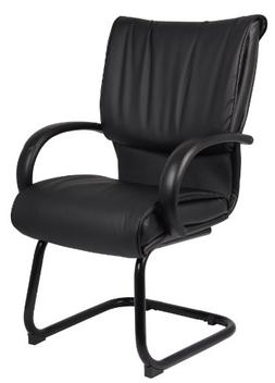 Boss Office Products B9709 LeatherPlus Guest Chair in Black