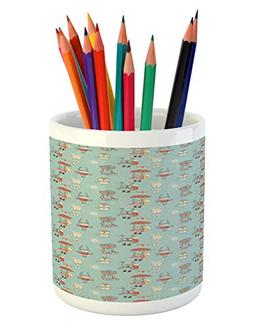 Ambesonne Baby Pencil Pen Holder, Doodle Style Pattern for K