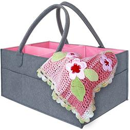 Baby Shower Gift Basket for Girls - Pink Diaper Caddy Organi