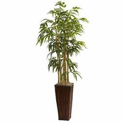 Nearly Natural® 4' Bamboo with Decorative Planter