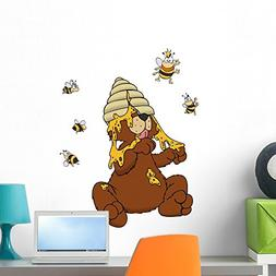Wallmonkeys Bear Honey Bees Bees Nest Queen Bee Wall Decal P