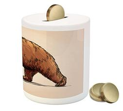 Ambesonne Bear Piggy Bank, Ink Drawing Style Wildlife Beast