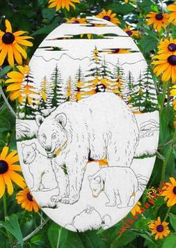 """Bear Window Decal Oval 4""""x6"""" Etched Glass Look Static Cling"""