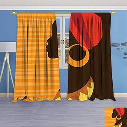 Bedroom Blackout Curtains Panels Window,Girl Profile Silhoue