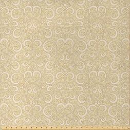 Ambesonne Beige Decor Fabric by The Yard, Unusual Swirled Fl