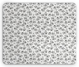 Ambesonne Bicycle Mouse Pad, Hand Drawn White and Black Adul