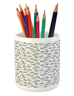 Ambesonne Bicycle Pencil Pen Holder, Hand Drawn White and Bl