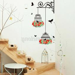 Bird Cage Flower Wall Stickers Vinyl Decal Removable Home Of